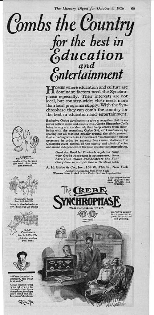 Grebe Radio Literary Digest Advertisement