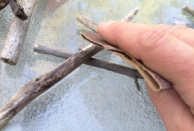 sanding twigs