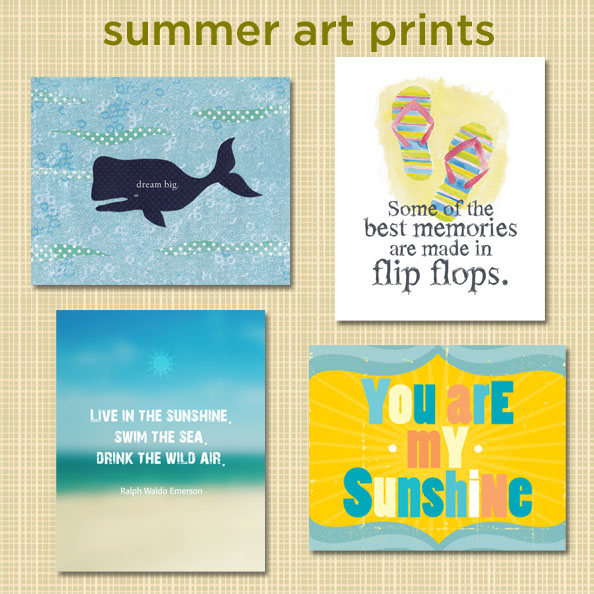a look at art prints for summer featuring sunshine, sky, sand, beach, flip flops and nautical imagery.