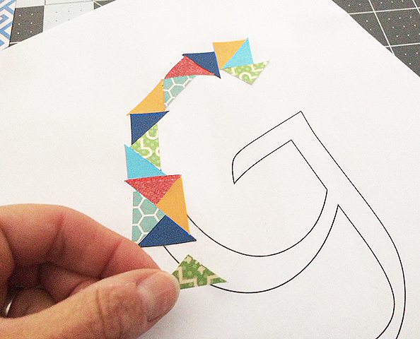 cut paper initial_glueing
