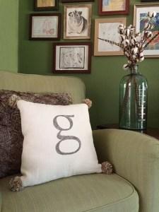 DIY monogram and pom pom pillow
