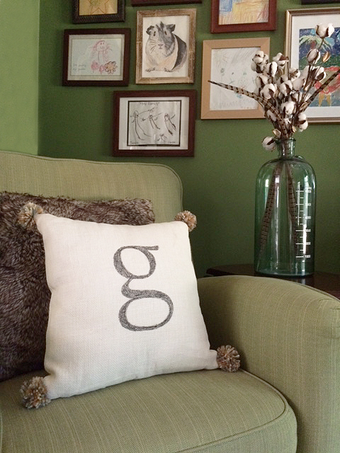 monogram pom pom pillow