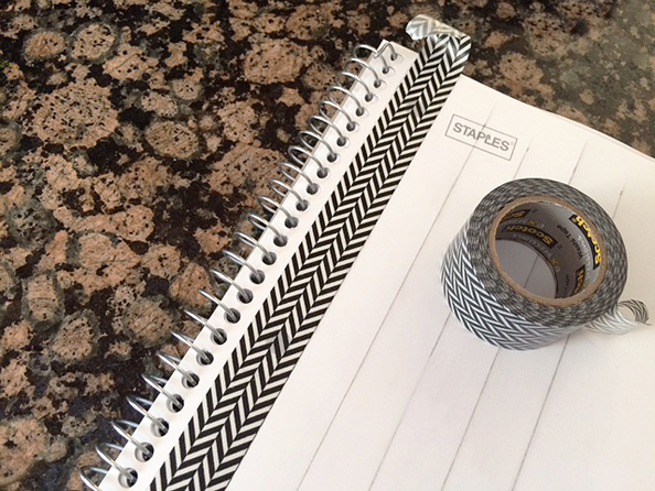 notebook cover black white tape