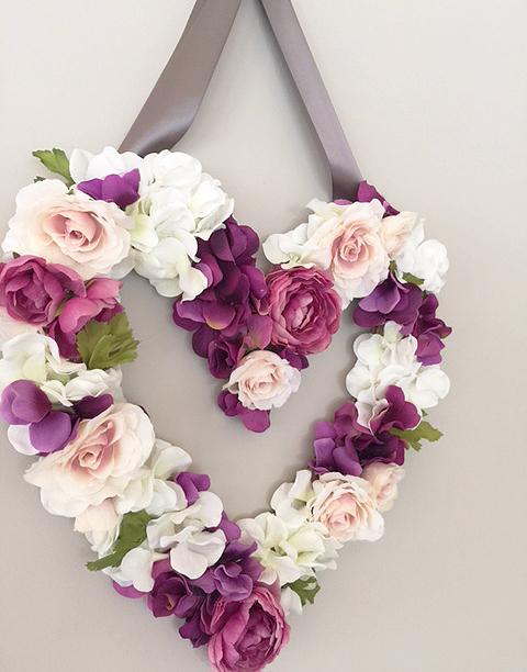 DIY faux floral heart
