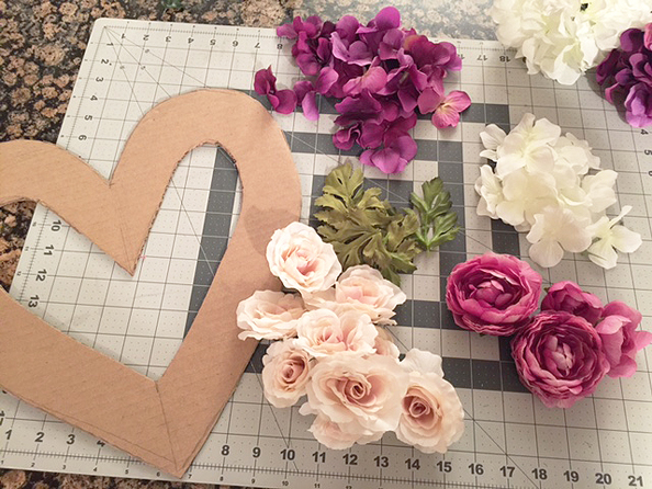 DIY faux floral heart wreath