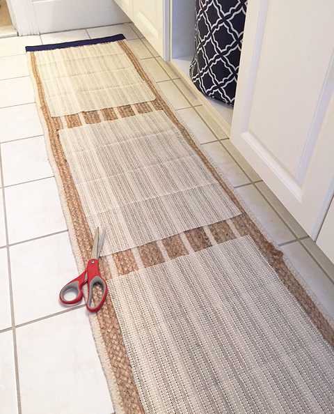 bath mat from table runner pad cut