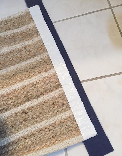 bath mat from table runner ribbon back