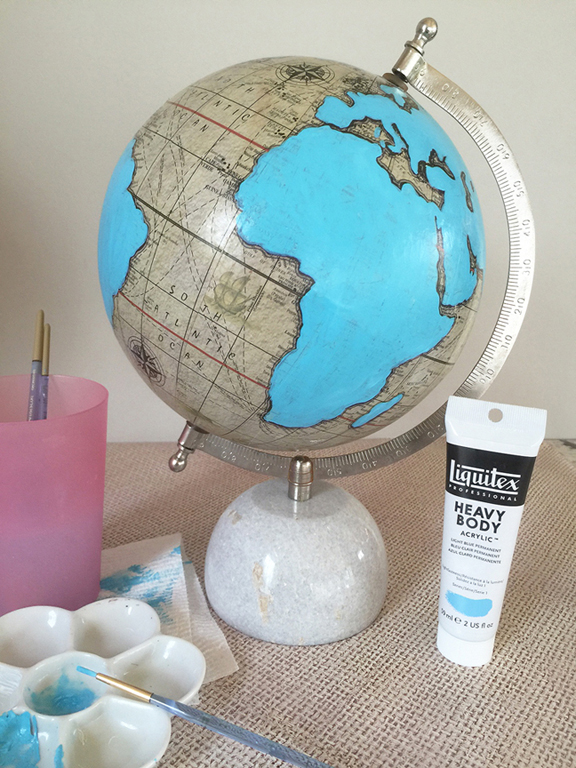 paint an old globe with acrylic bold color paints