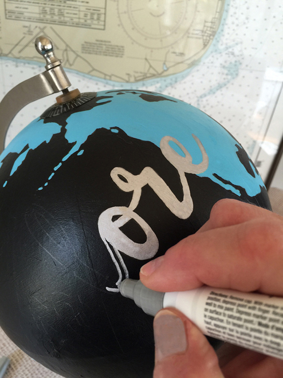 paint an old globe and get tips on how to transfer type with an oil based Sharpie marker