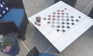 DIY firepit cover with game board