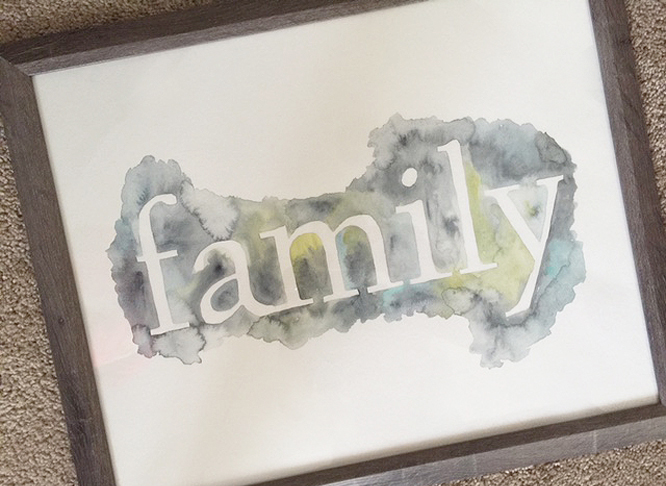 easy DIY wall art ideas with watercolor type