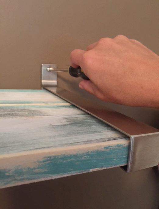 DIY distressed wood shelf with Ikea brackets