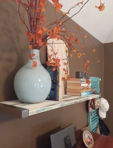 DIY distressed wood shelf with Ikea brackets