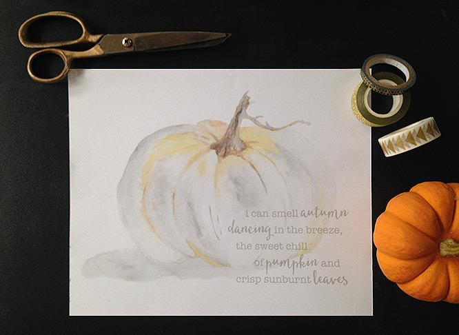 white pumpkin autumn art print