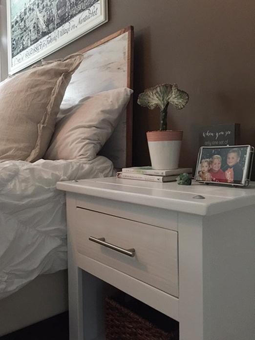 One room challenge bedroom makeover with DIY headboard