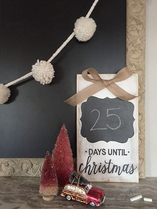 distressed wood and chalkboard advent calendar