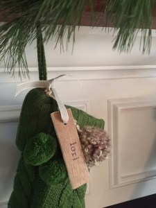 the time I made wood name tags for our stockings