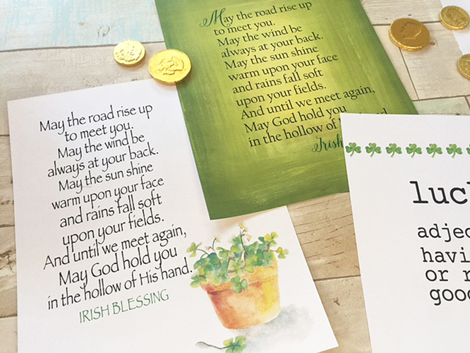 St. Patricks Day art prints with watercolor art, Irish blessings and rainbow connection lyrics