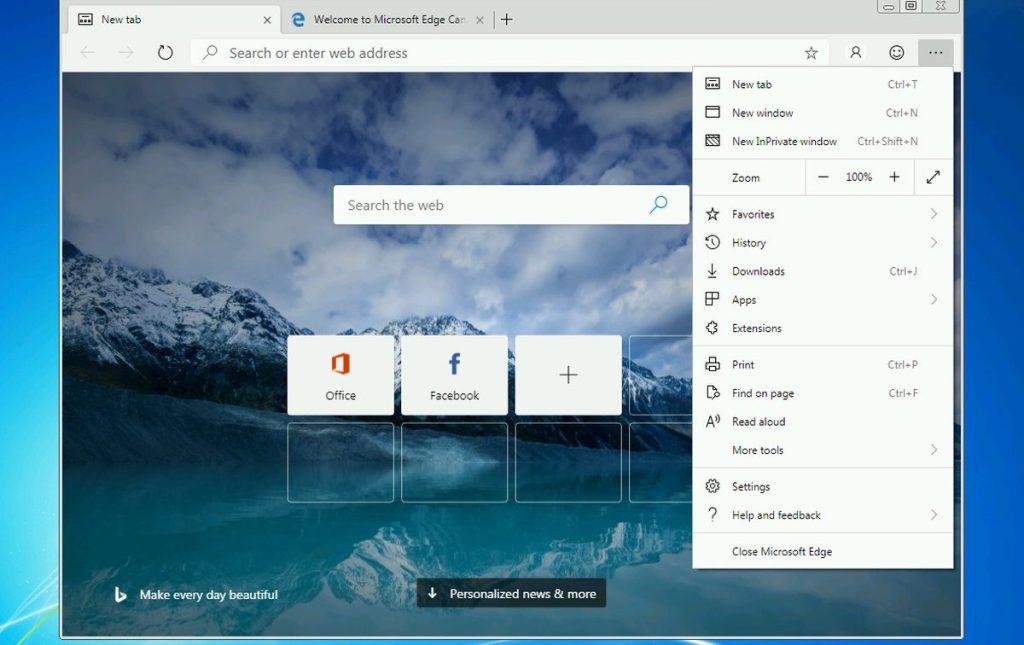Microsoft Edge su Windows 7