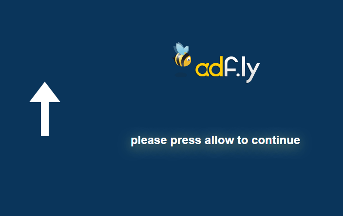 """Schermata AdFly """"Please Press Allow to Continue"""""""