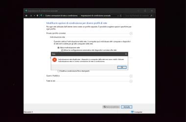 Individuazione rete disattivata in Windows
