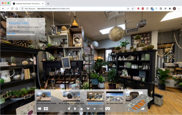 An inside shot of Mariposa Plants and Flowers, 801 8th St., #110, Greeley, part of a panoramic online virtual tour of downtown Greeley, created by Paul Royle-Grimes of Elevation Aerial Photography and Drone Services. (Courtesy of elevationvirtual.com/tour/index.htm)