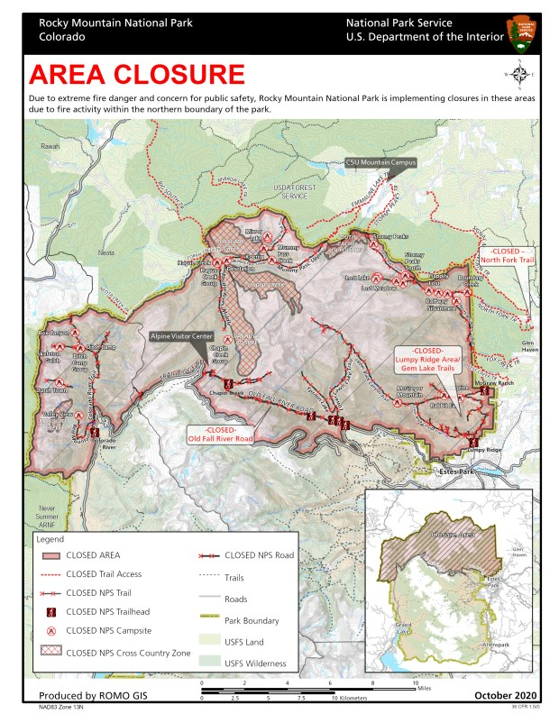 Rocky Mountain National Park Cameron Peak Fire closure map