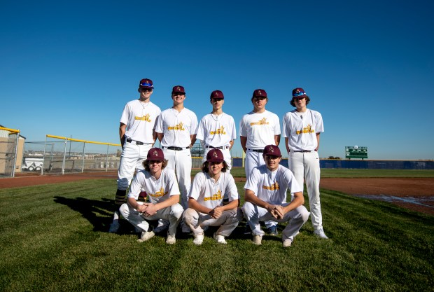 SEVERANCE, CO - OCTOBER 30:Members of the 970 Sun Devils club baseball team stand for a portrait on the baseball field at Severance High School in Severance Oct. 30, 2020. (Alex McIntyre/Staff Photographer)