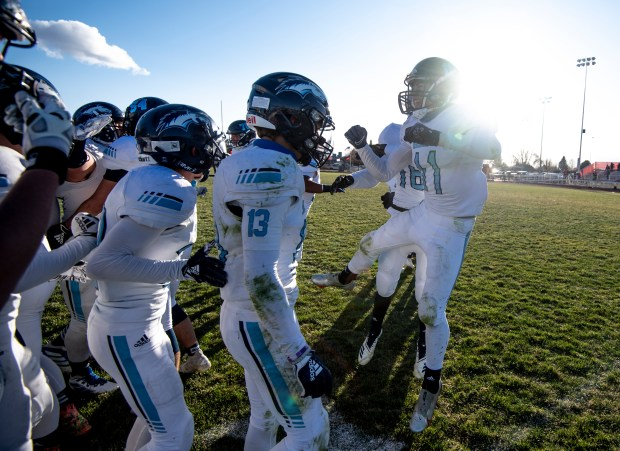 EATON, CO - NOVEMBER 14:The Platte Valley Broncos celebrate after winning their regular season finale game against the Eaton Reds at Eaton High School in Eaton Nov. 14, 2020. The Platte Valley Broncos defeated the Eaton Reds 41-35. (Alex McIntyre/Staff Photographer)