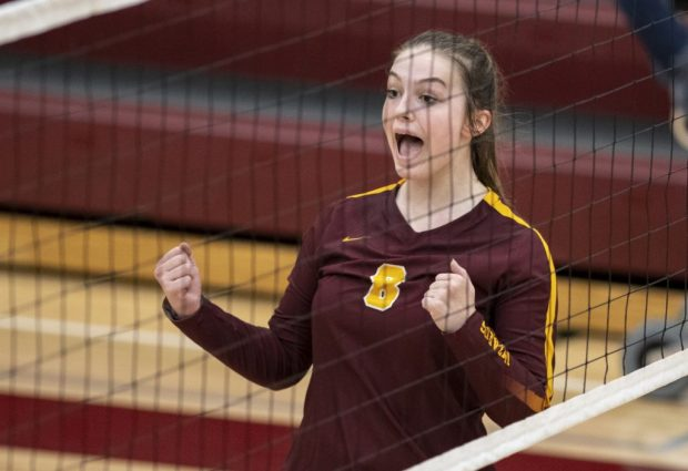 Windsor's Sara Scott celebrates after scoring a point during a Wizards' volleyball match against Highlands Ranch Nov. 9, 2019 at Windsor High School. (Greeley Tribune file photo)