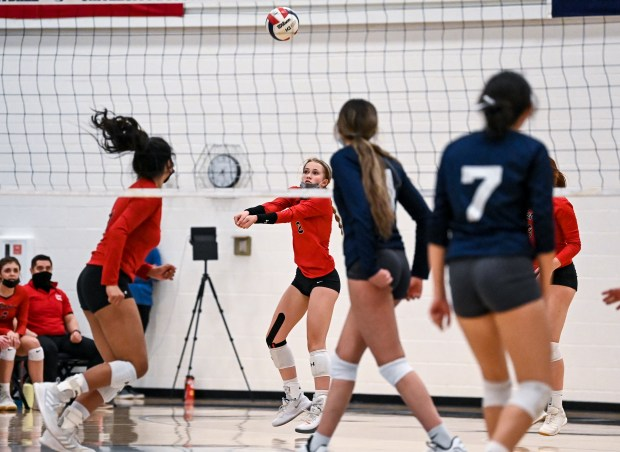 GREELEY, CO - APRIL 06:Eaton's Rylee Martin (2) digs during the University Bulldogs volleyball game against the Eaton Reds at University Middle School in Greeley April 6, 2021. The Reds defeated the Bulldogs 3-1. (Alex McIntyre/Staff Photographer)