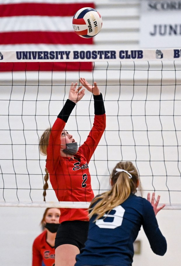 GREELEY, CO - APRIL 06:Eaton's Rylee Martin (2) sets during the University Bulldogs volleyball game against the Eaton Reds at University Middle School in Greeley April 6, 2021. The Reds defeated the Bulldogs 3-1. (Alex McIntyre/Staff Photographer)