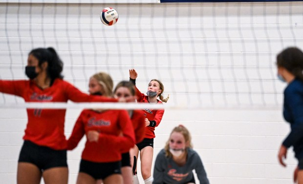 GREELEY, CO - APRIL 06:Eaton's Jacelyn Contreras (3) serves during the University Bulldogs volleyball game against the Eaton Reds at University Middle School in Greeley April 6, 2021. The Reds defeated the Bulldogs 3-1. (Alex McIntyre/Staff Photographer)