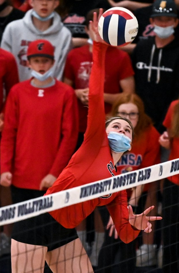GREELEY, CO - APRIL 06:Eaton's Sydney Leffler (10) attacks during the University Bulldogs volleyball game against the Eaton Reds at University Middle School in Greeley April 6, 2021. The Reds defeated the Bulldogs 3-1. (Alex McIntyre/Staff Photographer)