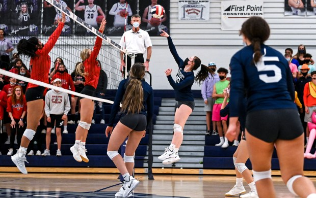 GREELEY, CO - APRIL 06:University's Chloe Ruhl (10) attacks during the University Bulldogs volleyball game against the Eaton Reds at University Middle School in Greeley April 6, 2021. The Reds defeated the Bulldogs 3-1. (Alex McIntyre/Staff Photographer)