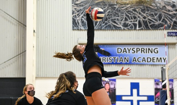 GREELEY, CO - APRIL 20:Dayspring Christian's Tabor Flanagan (22) attacks during the Dayspring Christian Eagles volleyball match against the Union Colony Timberwolves at Dayspring Christian Academy in Greeley April 20, 2021. The Eagles defeated the Timberwolves 3-1. (Alex McIntyre/Staff Photographer)
