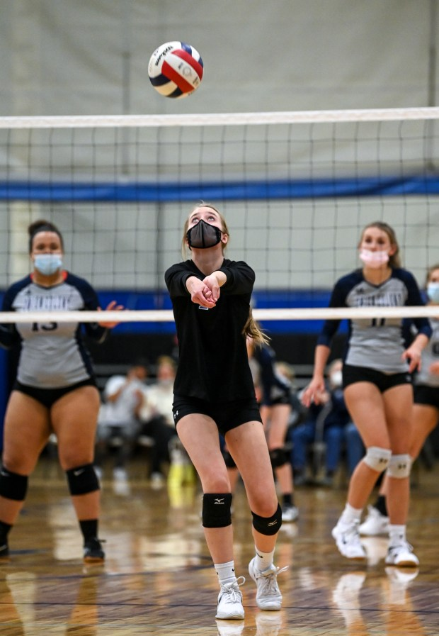 GREELEY, CO - APRIL 20:Dayspring Christian's Kylie Vanlddekinge (1) digs during the Dayspring Christian Eagles volleyball match against the Union Colony Timberwolves at Dayspring Christian Academy in Greeley April 20, 2021. The Eagles defeated the Timberwolves 3-1. (Alex McIntyre/Staff Photographer)