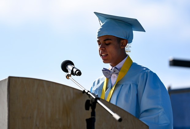GREELEY, CO - MAY 22:Student speaker Jacob Horner speaks during the Greeley West High School Class of 2021 Commencement Ceremony at District 6 Stadium in Greeley May 22, 2021. (Alex McIntyre/Staff Photographer)