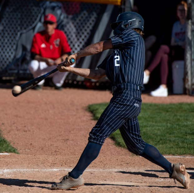 GREELEY, CO - MAY 27:University's Mikey Roy (2) makes contact during the Eaton Reds baseball game against the University Bulldogs at University High School in Greeley May 27, 2021. The Reds defeated the Bulldogs 12-5. (Alex McIntyre/Staff Photographer)