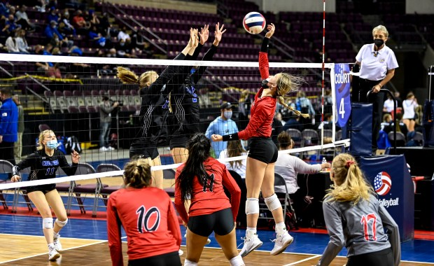 COLORADO SPRINGS, CO - MAY 12:Eaton's Rylee Martin (2) attacks during the Eaton Reds 3A girls volleyball state quarterfinal match against the Resurrection Christian Cougars at The Broadmoor World Arena in Colorado Springs May 12, 2021. The Reds defeated the Cougars 3-1 and will advance to the semifinals. (Alex McIntyre/Staff Photographer)