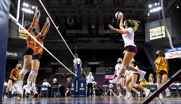 COLORADO SPRINGS, CO - MAY 13:Windsor's Sara Scott (8) attacks during the Windsor Wizards 4A girls volleyball state semifinal match against the Mead Mavericks at The Broadmoor World Arena in Colorado Springs May 13, 2021. (Alex McIntyre/Staff Photographer)
