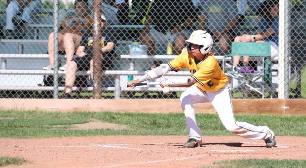 Valley sophomore Caleb Caciari attempts to lay down a bunt during the Vikings' 12-10 loss to Brush in a Class 3A Patriot League baseball game on Friday, May 28 in Brush. (Courtesy/Brian Stotts)