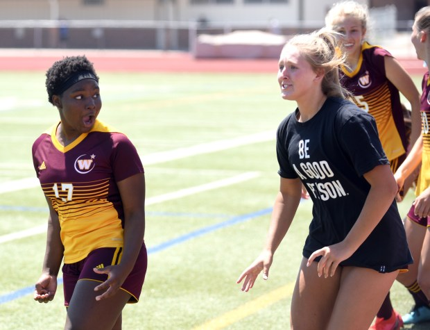 WINDSOR, CO - JUNE 07:Windsor's Abiha Randel looks back as she cheers with her team, after the game winning goal on at H.J Dudley Field at Windsor High School in Windsor June 7, 2021. (Joshua Polson/For The Greeley Tribune)