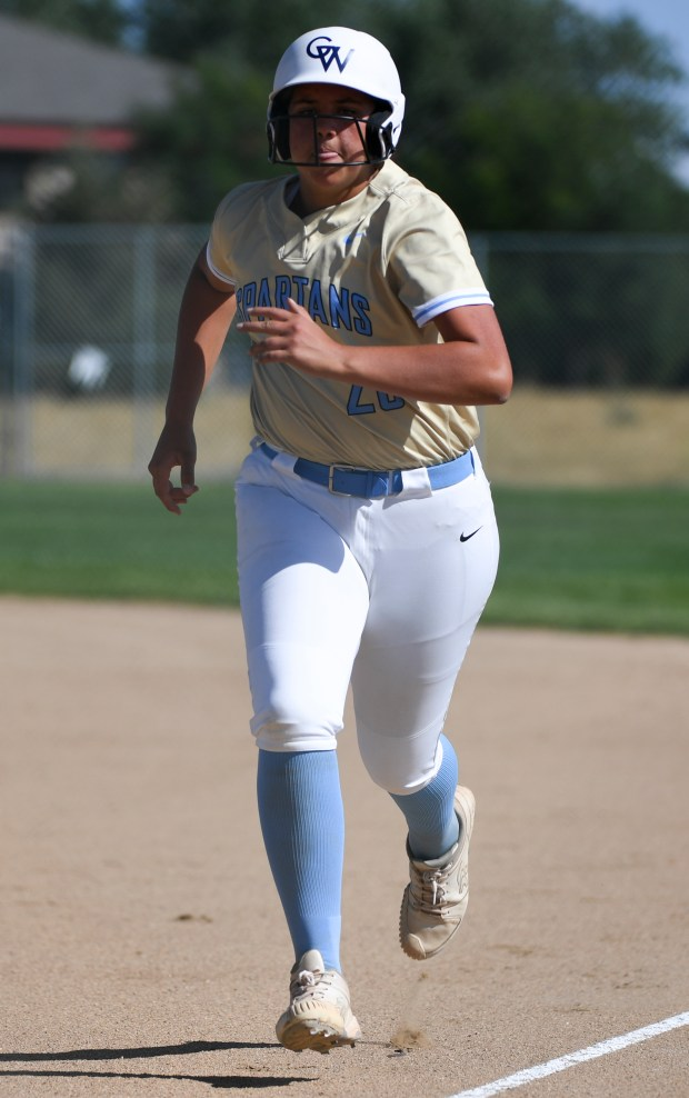 GREELEY, CO - AUGUST 24:Greeley West's Ellyse Hydock (20) runs home during the Greeley Central Wildcats softball game against the Greeley West Spartans at the Greeley-Evans Youth Sports Complex in Greeley Aug. 24, 2021. (Alex McIntyre/Staff Photographer)
