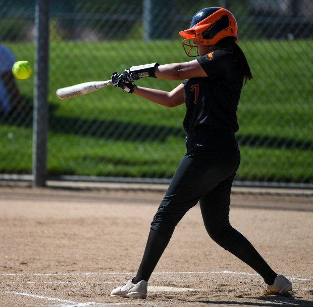 GREELEY, CO - AUGUST 24:Greeley Central's Brianna Leos (7) hits during the Greeley Central Wildcats softball game against the Greeley West Spartans at the Greeley-Evans Youth Sports Complex in Greeley Aug. 24, 2021. (Alex McIntyre/Staff Photographer)