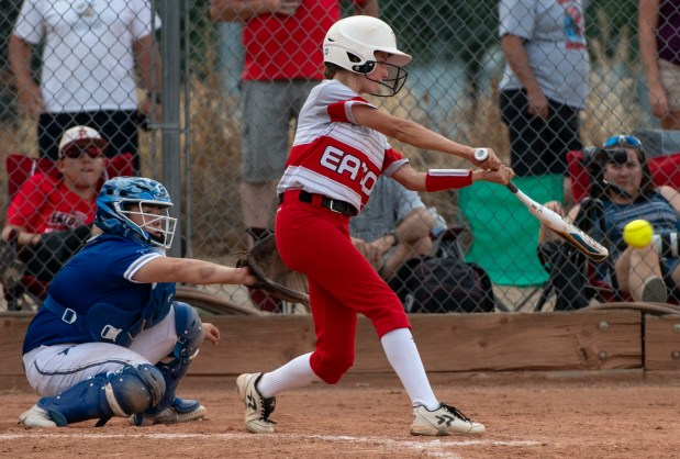 EATON, CO - AUGUST 17:Eaton's Zoe Hamilton (9) hits during the Eaton Reds softball game against the Fort Lupton Bluedevils at Eaton High School in Eaton Aug. 17, 2021. The Eaton Reds defeated the Fort Lupton Bluedevils 6-1. (Alex McIntyre/Staff Photographer)