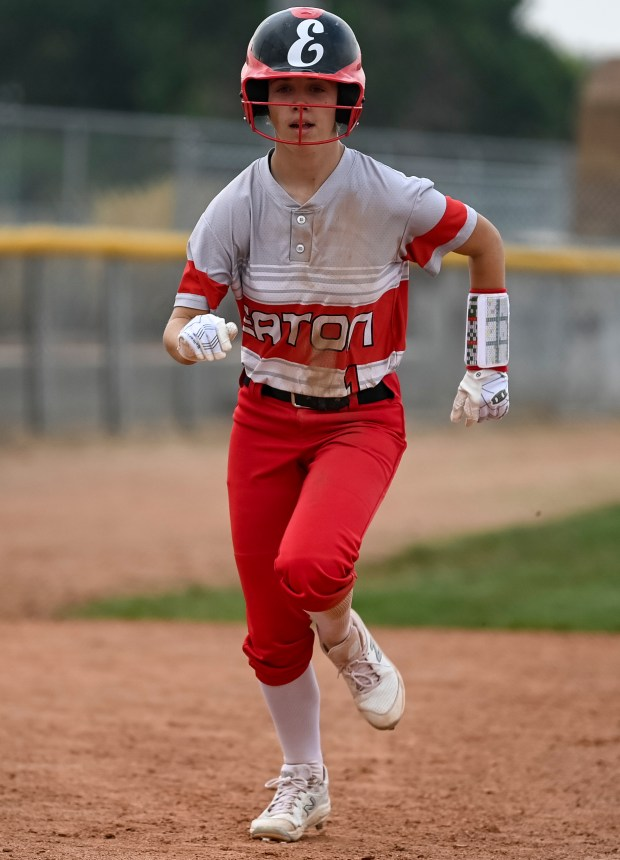 EATON, CO - AUGUST 17:Eaton's Blayke Duncan (1) runs toward home plate but doesn't make it there in time to score during the Eaton Reds softball game against the Fort Lupton Bluedevils at Eaton High School in Eaton Aug. 17, 2021. The Eaton Reds defeated the Fort Lupton Bluedevils 6-1. (Alex McIntyre/Staff Photographer)