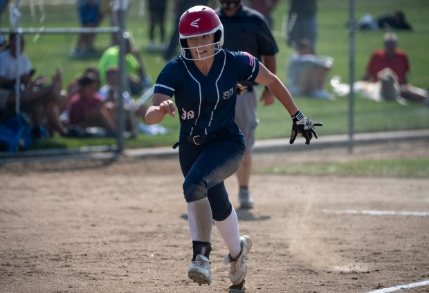 GREELEY, CO - AUGUST 12:Northridge third baseman Hallee Widler (38) runs home during the Northridge Grizzlies softball game against the Greeley West Spartans at District 6 Softball Field in Greeley Aug. 12, 2021. The Grizzlies defeated the Spartans 12-0 in four innings. (Alex McIntyre/Staff Photographer)
