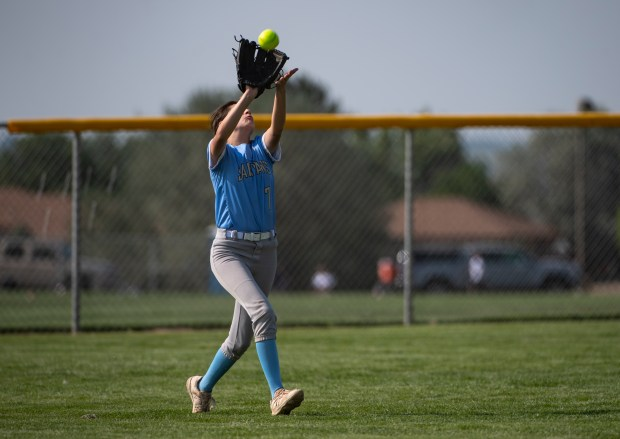 GREELEY, CO - AUGUST 12:Greeley West outfielder Brenna Sandoval (7) catches a fly ball during the Northridge Grizzlies softball game against the Greeley West Spartans at District 6 Softball Field in Greeley Aug. 12, 2021. The Grizzlies defeated the Spartans 12-0 in four innings. (Alex McIntyre/Staff Photographer)
