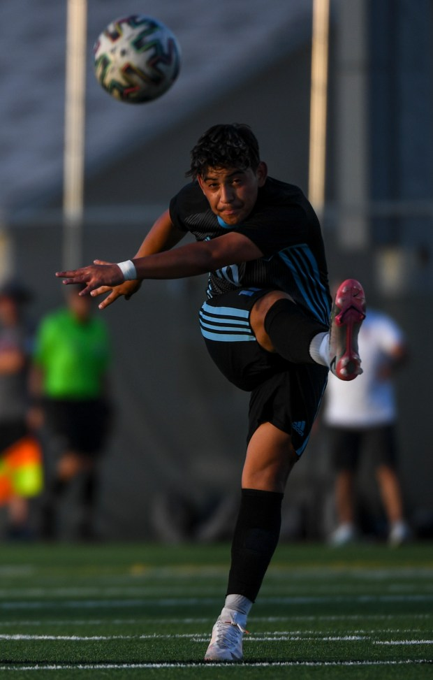 GREELEY, CO - AUGUST 26:Greeley West's Elvis Rivera (10) takes a shot during the Greeley West Spartans boys soccer match against the Northridge Grizzlies at District 6 Soccer Stadium in Greeley Aug. 26, 2021. The Grizzlies and Spartans played to a 1-1 draw through two overtime periods. (Alex McIntyre/Staff Photographer)